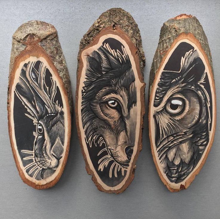 Stunning Paintings Of Animals On Wood Slices   99inspiration