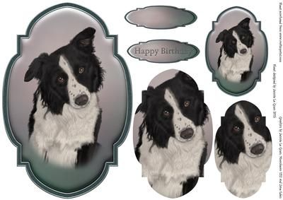 Border Collie Topper and Tag on Craftsuprint - Add To Basket!