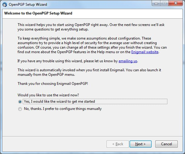 Setting up encrypted email.