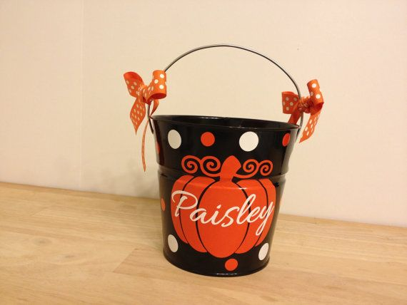 Halloween bucket: Personalized halloween trick or treat metal bucket, 2 quart toddler size pail, name over pumpkin design on Etsy, $16.00