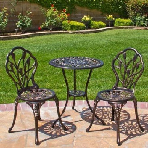 Cast Iron Bistro Patio Set Outdoor Table Chairs Furniture Sets 3 pc Metal  #BestChoiceProducts