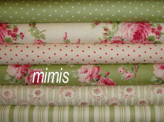 Barefoot Roses by Tanya Whelan / Greens / 6 Half Yard by mimis, $28.50