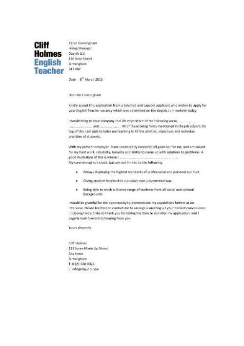 sample cover letter english teacher pics photos resume