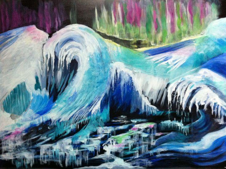 Peinture paysage/ Paysage polaire/ Hiver/ Arctique/Océan de glace/ Aurore boréale/Iceberg/ acrylique originale/ art moderne : Peintures par lumeline-bll