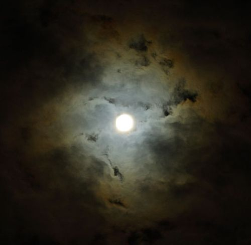 Orange and Blue Clouds, Moon