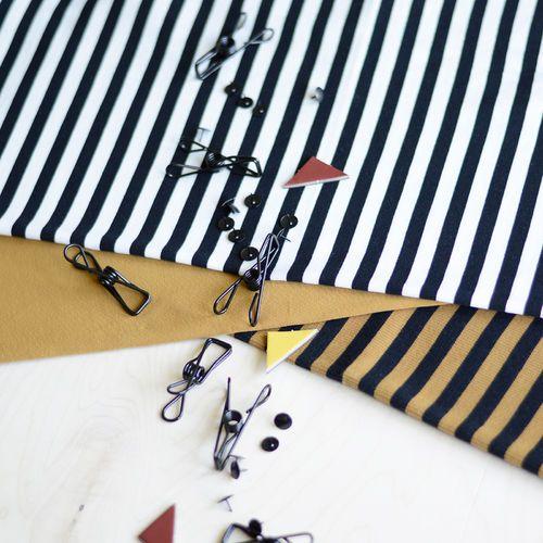 2x1 Stripe Rib, Black - Nutmeg   NOSH Autumn & Winter 2016 Fabric Collection is now available at en.nosh.fi   NOSH syksyn 2016 uutuuskankaat saatavilla verkosta nosh.fi
