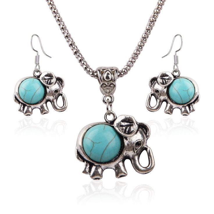 Blue turquoise crystal Elephant pendant tibetan silver necklace earring set by Yuan mutang: