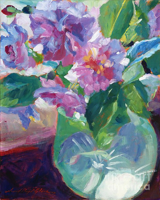 Impressionist painting of pink flowers in frosted green glass vase