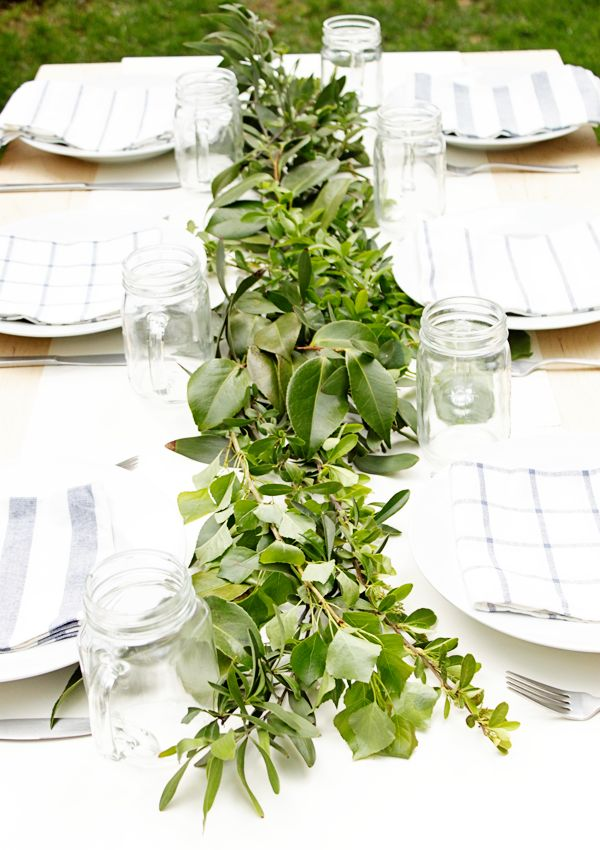 Greenery on the Spring table.