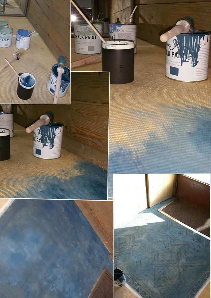 This is how l painted and old rug on my shop´s floor with #AnnieSloan #ChalkPaint #Aubusson #DEB #GreekBlue . Done by #RetamaSalamanca