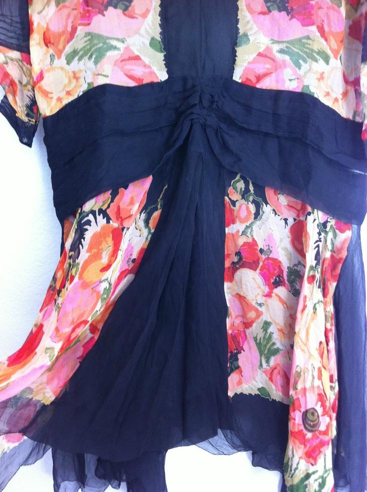Vintage 1920s Watercolor Floral Silk Flapper Dress | eBay