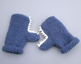 monster mittens - I don't knit, but I can make teeth and