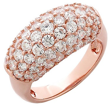 #ilovetoshop Diamonelle Sterling Silver & Rose Gold Plate Pave Set Band