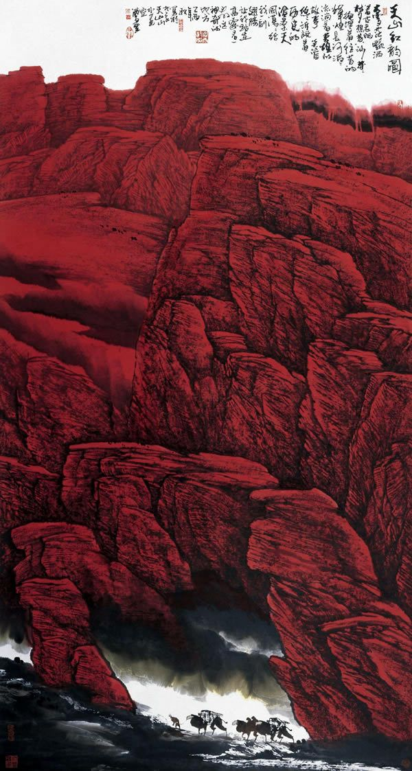 Chinese ink painting by Zhou Zunsheng, b. 1958 【国画】周尊圣《大漠孤烟》