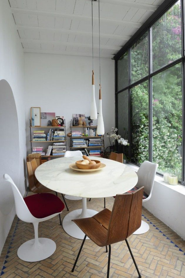 ...Emma François, Dining Room, Vintage Home, Windows Seats, Tulip Chairs, Little Spaces, Dining Nooks, Design, Eclectic Style