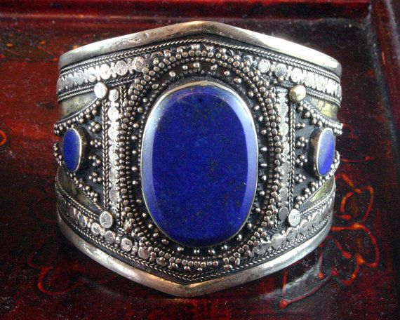 Moroccan Jewelry - Silver Cuff Bracelet - African Jewelry - Lapis Bracelet - Tribal - Ethnic Jewelry - Statement - Vintage - Ancient Jewelry on Etsy, $195.00