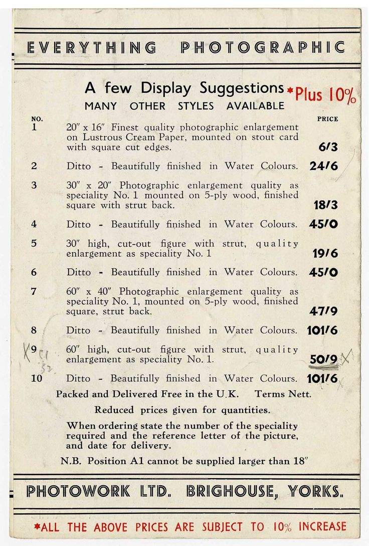 A price list produced by A.H Leach for photographs of the Coronation of King George VI. The prices were subject to a 10% increase to cover what had already been produced before his brother, King Edward VIII had abdicated!