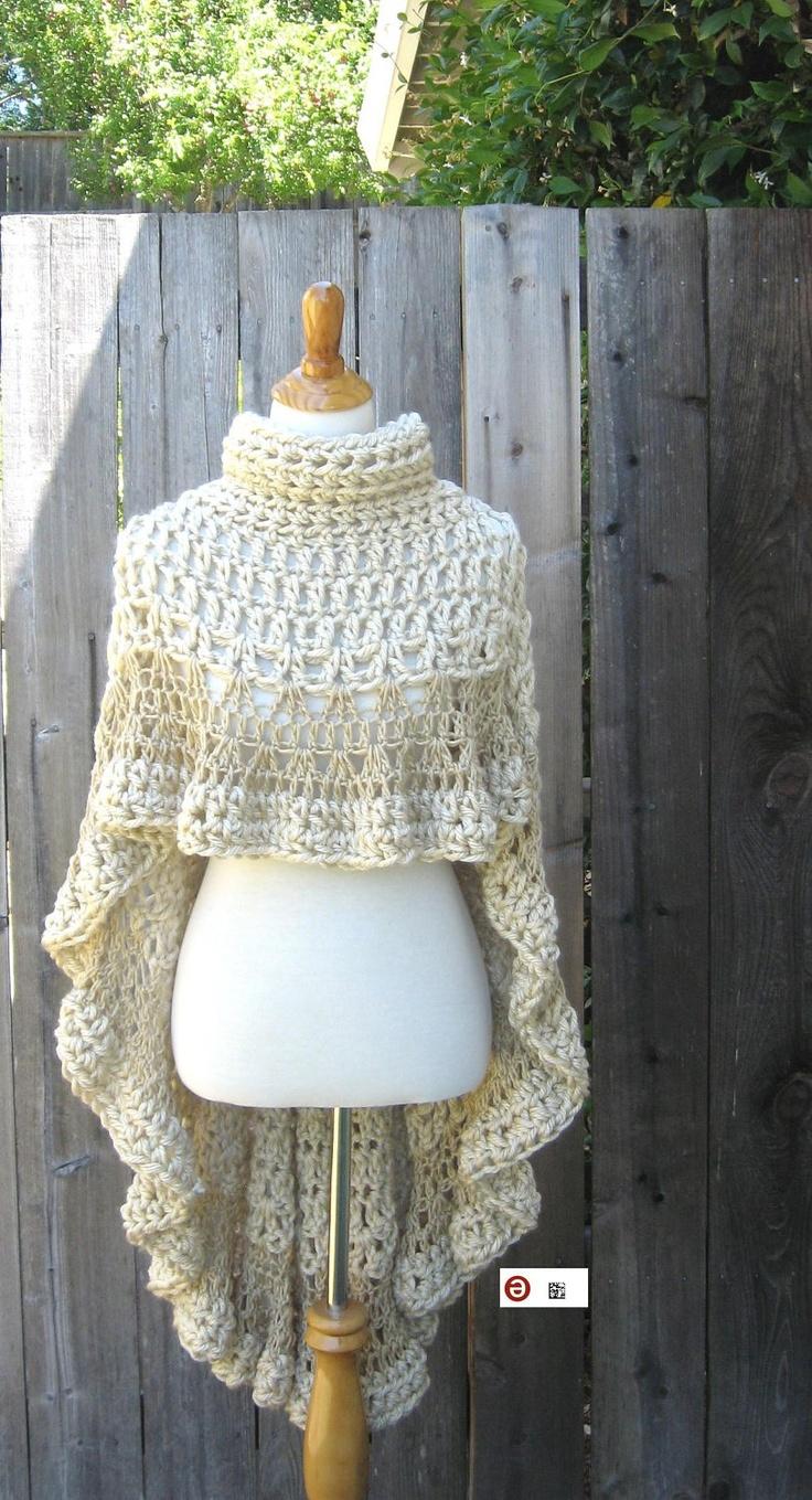 Knitting Pattern Turtleneck Capelet : BEIGE CAPE PONCHO Crochet Knit Cream Shawl Turtleneck Boho Hippie Feminine Ca...
