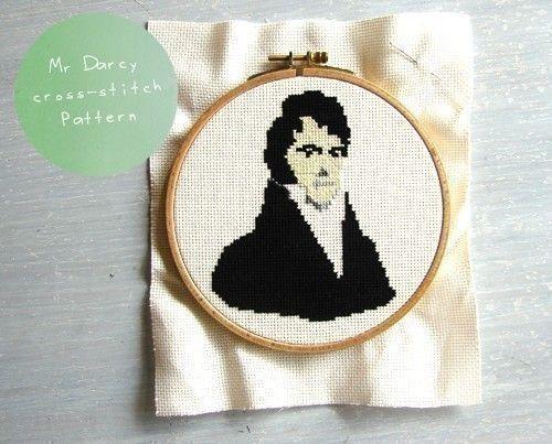 Mr Darcy pattern cross stitch. $7.00, via Etsy.