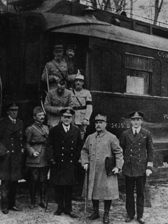 1918 - November 11, Ferdinand Foch,French Marshal, with Allied commanders beside the train at Compeigne for the Armistice with Germany