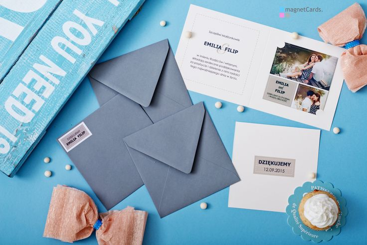 Podziękowanie w formie magnesu w okładce otwieranej + koperta z naklejką z motywem z podziękowania