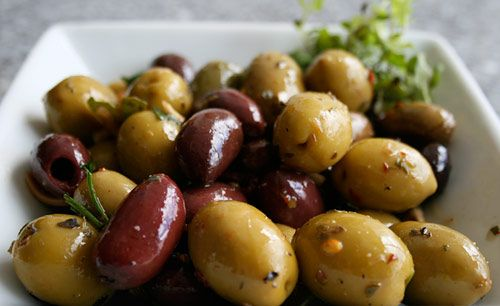 Marinated Olives with Garlic and Herbs.  These are way better than the ones you buy from the store.
