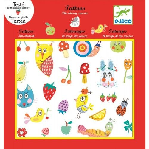 Djeco Cherry Season Temporary Tattoo's A fun pack of temporary tattoos. 2 sheets of tattoos which feature gorgeous animals, cherries, mushrooms and flowers. Fun for holidays or parties. Non-toxic and dermatologically tested. Easy to apply, no fuss, no mess just cut out the one you want peel back top film and press onto skin firmly.  Pack measures 21.5cm x 23cm Age 4+ due to small sticker parts