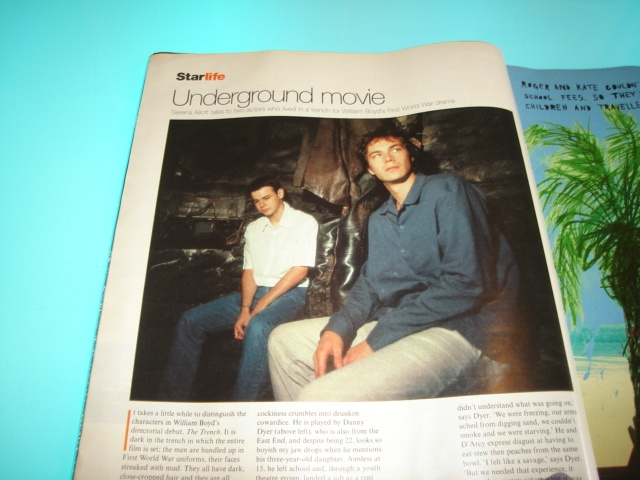 one-page article in the U.K. Telegraph Magazine during the 1990's on James D'Arcy and Danny Dyer in The Trench