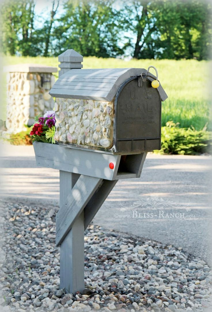 Stone and wood with grey Mailbox Makeover Bliss-Ranch.com