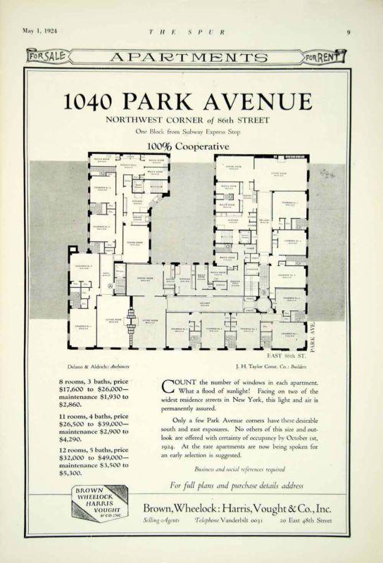 Vintage 1924 luxury apartment floorplans for 1040 park ave for Luxury apartment floor plans nyc