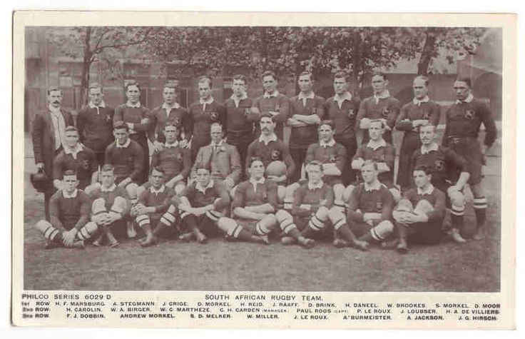 First ever Springbok team, the 1906 'Springboks' rugby team. (south african rugby union national team) This Day in History: Mar 27, 1871: The first international Rugby football game http://dingeengoete.blogspot.com/ http://www.rugby15.co.za/wp-content/uploads/2011/07/1906_Springboks.jpg