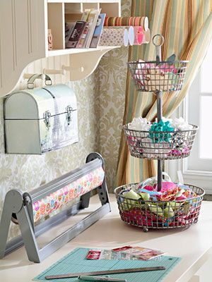 pretty: Crafts Rooms, Offices, Ribbons, Lunches Boxes, Rooms Ideas, Gifts Wraps, Wire Baskets, Storage Ideas, Wraps Stations