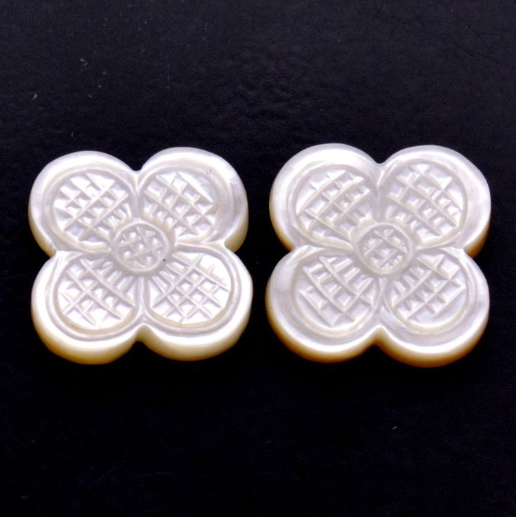 Natural Mother Of Pearl Shell Hand Made Carving Pair13x13 mm Loose Gemstones #sbigems