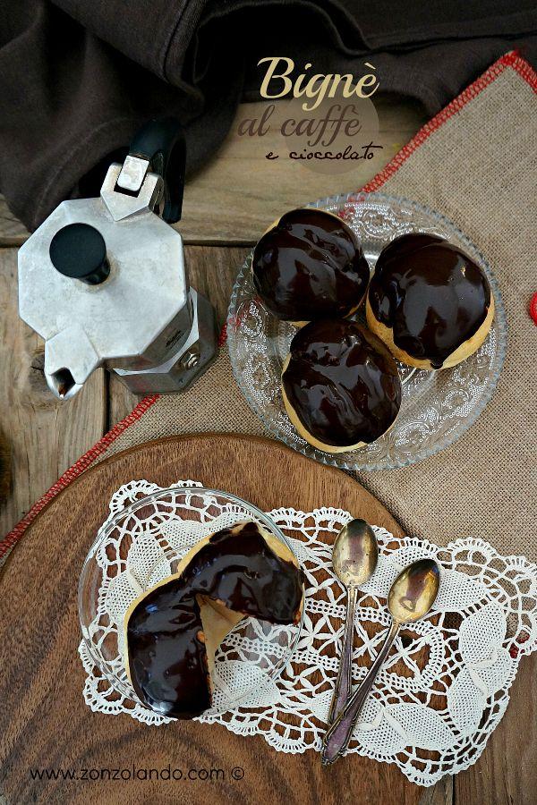 Bignè ripieni con crema al caffè e glassa al cioccolato ricetta cream puffs stuffed with coffee custard chocolate recipe