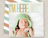 Birth Announcement Baby Boy or Baby Girl Card Modern photo baby announcement. $14.95, via Etsy.