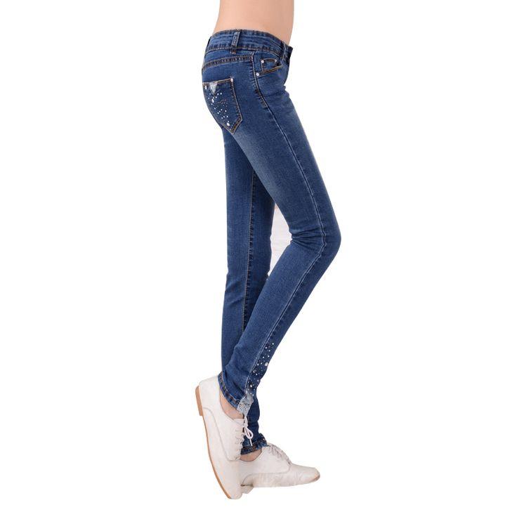 Skinny Jeans Woman Spring Fashion Diamond Lace Jeans Femme Stretch Women's Pants Denim Trousers For Women Slim Jeans