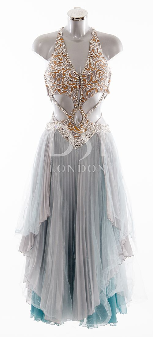 Simply exquisite.  Silver and Pale Turquoise Ballroom Dress As worn by Ola Jordan on Strictly Come Dancing 2014