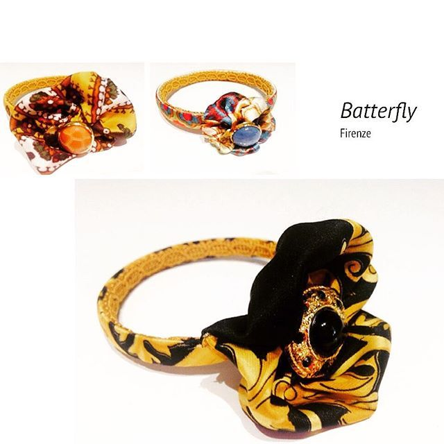 Braccialetti rigidi realizzati con seta e bottoni#firenze#handmade#gioielli#fashion#creativity#love