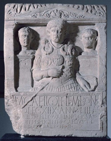 The famous and important funeral stele of Marcus Caelius, decorated first centurion of the Legio XVIII, a native of Bologna, 53 and a half years, fell into the ambush of the Teutoburg Forest where they were destroyed legions XVII, XVIII and XIX, under the command of the Governor Quintilio Publius Varus.Ancient History, Teutoburg Forests, Graves Beautiful, Funerary Art, Classic Archaeology, Romans Artifacts, Ancient Texts, The City