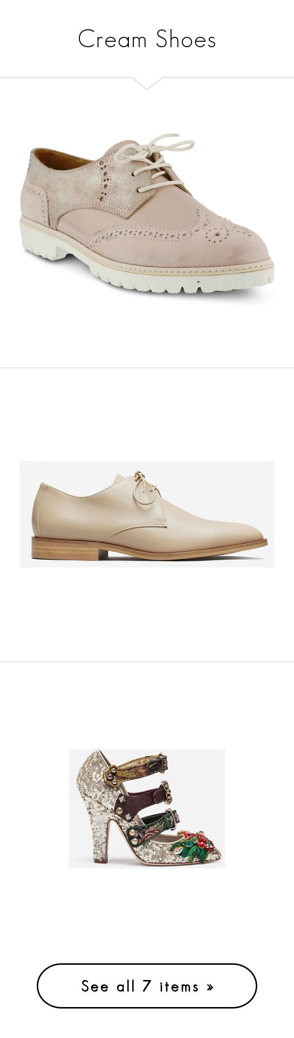 """""""Cream Shoes"""" by izzystarsparkle ❤ liked on Polyvore featuring shoes, oxfords, nubuck leather shoes, wing tip shoes, leather oxford shoes, pink metallic shoes, spring step shoes, cold khaki, khaki shoes and oxford shoes"""