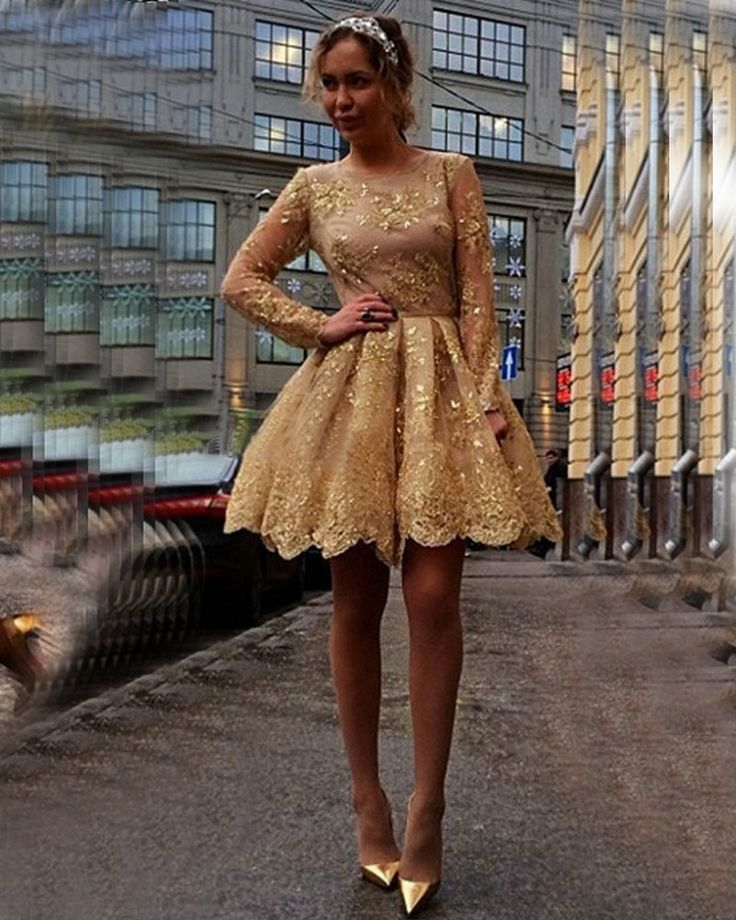 Gold Sequins Appliques Lace Short Prom Dresses,2016 Long Sleeve Prom Dresses,Sexy Homecoming Party Dress Evening Dress Evening Gowns