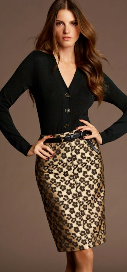 Fitted sweater with a pencil skirt:  if you feel confident about your figure and want to show it off, this is a great way to do it.  Looks good on almost any figure type as long as the fit is good; not too tight or too loose.  Belt is optional.  Go for a higher waist if you have a small waist, and a dropped waist if not.