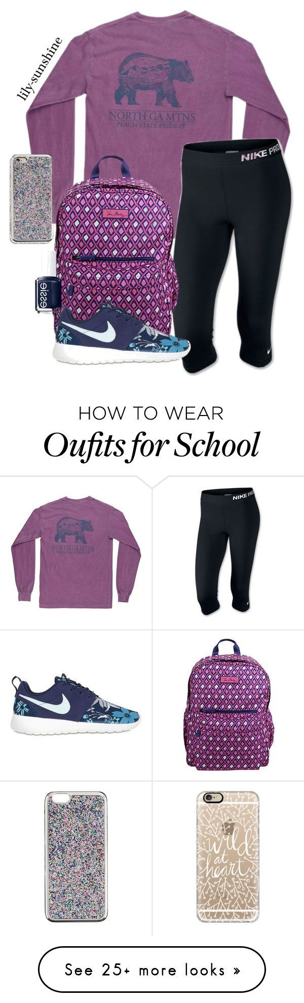 """""""If I could where these kinds of clothes to school"""" by lily-sunshine on Polyvore featuring NIKE, Vera Bradley, Casetify, Essie and J.Crew"""