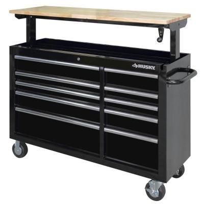 Husky 52 in. 10-Drawer Mobile Workbench with Adjustable-Height Top, Black-HOLC5210B1OD - The Home Depot
