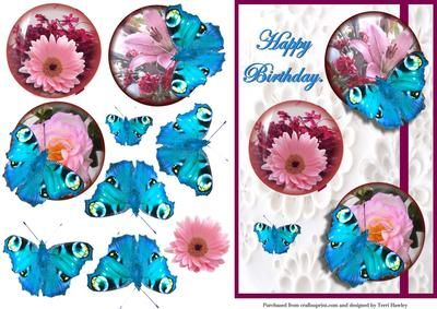 Very pretty 3D card that says Happy birthday. Has pretty butterflies, stick only down the middle and flair out the and they look beautyful.