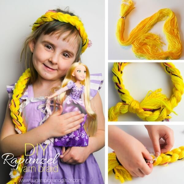 Kids' craft idea - DIY Rapunzel Braid that kids can make independently, perfect for dress-up or a homemade Disney Halloween costume