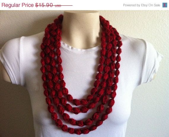 CLEARENCE Bubble Loop Scarf Necklace in Autumn Red, Crochet Scarf Necklace, USA seller on Etsy, $14.54 CAD