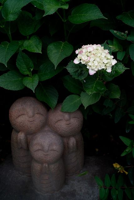"Smiling Ksitigarbha (Jizo) trio, Japan My son told me he had seen these in a garden when he was doing landscaping. "" They are cute!"""