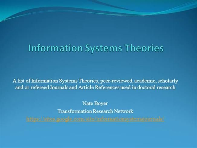 Information Systems Theories By Drnate Via Authorstream Systems Theory Management Information Systems Social Learning Theory
