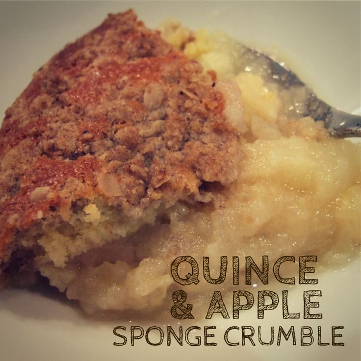 Quince & apple compote is topped with a light sponge and a layer of spiced crumble to create an irresistible dessert. Delicious served hot, warm or cold, and perfect with custard! #dessert #applecrumble #fruit #winter #food